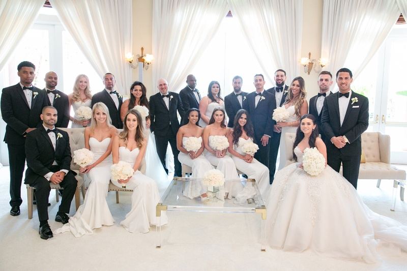 5734fd775f large bridal party at black-tie wedding, manny smith interscope wedding,  bridesmaids in