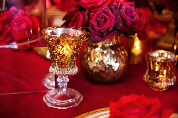 elevated gold votive candle holder