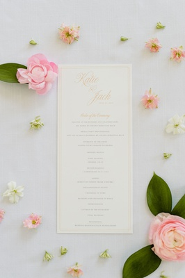 wedding ceremony program order of events classic catholic mass gold calligraphy