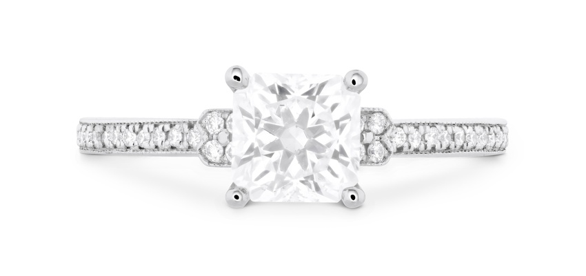 Hearts On Fire Deco Chic Milgrain engagement ring with square diamond center stone