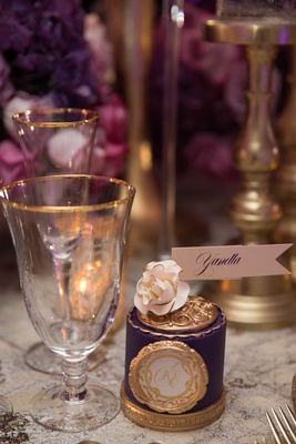 purple gold place card bold feminine wedding styled shoot ornate design patterns