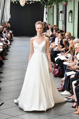 b54c4a3bf2d27 Nouvelle Amsale spring 2019 bridal collection wedding dress Celeste  spaghetti strap a line gown seam.