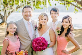 Bride and groom with daughters and son