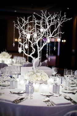 White guest tables with manzanita tree and crystals