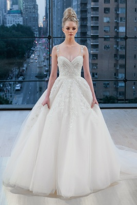 Embellished sleeveless sweetheart natural waist airy ball gown with delicate beading cascading down