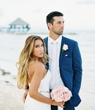 beach wedding, tropical wedding, bride and groom on beach NFL Denver Broncos Brandon McManus