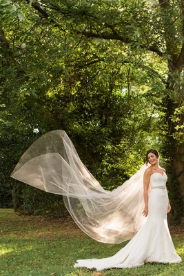 full body bride white dress sheer veil flowing mermaid dress