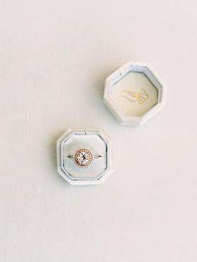 wedding ring engagement ring box double halo setting round diamond center stone rose gold platinum