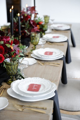 Marsala place cards and flowers in centerpieces