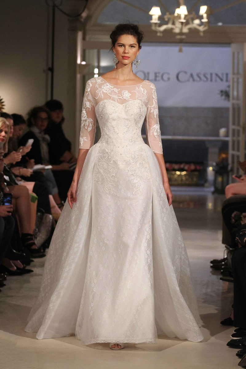 Wedding dresses photos oleg cassini gown with overskirt for Wedding dress designer oleg cassini