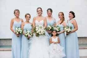 wedding portrait bride v neck gown bridesmaids light blue mismatch necklines flower girl