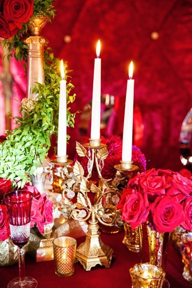 golden candelabra from beauty and the beast inspired table setting