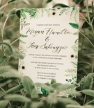 wedding invitation green white flower foliage design modern calligraphy watercolor anemone flowers