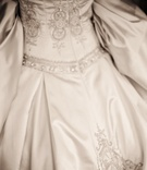 Reem Acra satin wedding gown with embroidery and beading on bodice and skirt