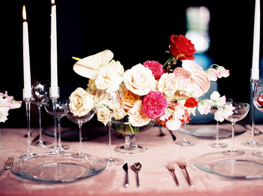Wedding reception tablescape velvet linens pink with low centerpiece white and pink rose flowers