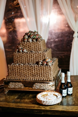 groom's cake made to look like baskets of chocolate-covered strawberries