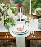 desert wedding inspiration, rose gold artichoke place card holder
