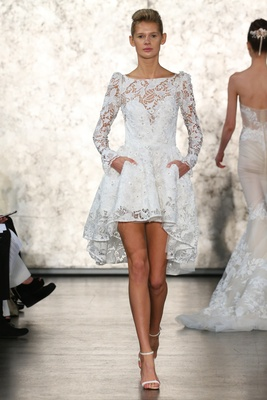 Inbal Dror Lace Long Sleeve Short Wedding Dress