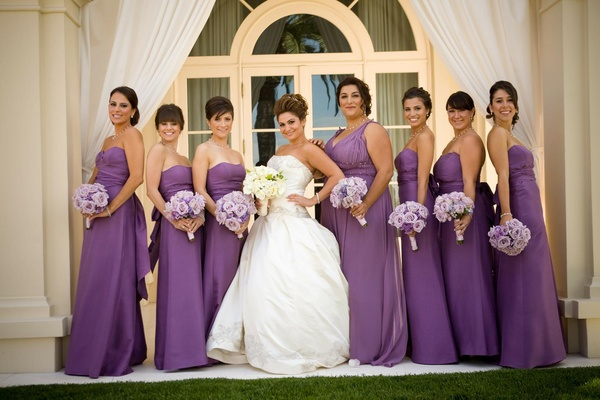 Armenian bride with her bridesmaids in strapless gowns