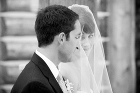 Black and white photo of couple at ceremony
