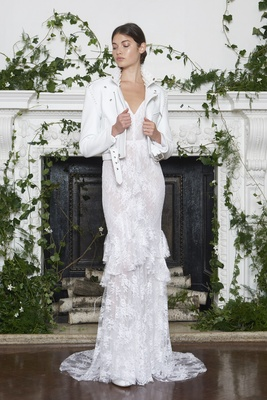 Monique Lhuillier Fall 2018 Chantilly lace V-neck sheath gown ruffles, white motorcycle jacket