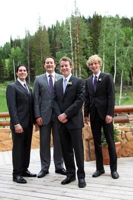 Groom with groomsmen outside in Utah