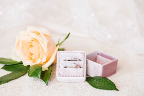bridal jewelry rose gold solitaire engagement ring pave band wedding ring velvet pink ring box rose