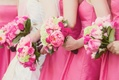 bridesmaid bouquets of pink roses and green hydrangea