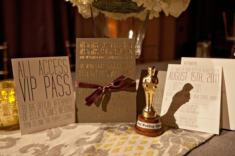 Hollywood-style stationery suite with Oscar favor