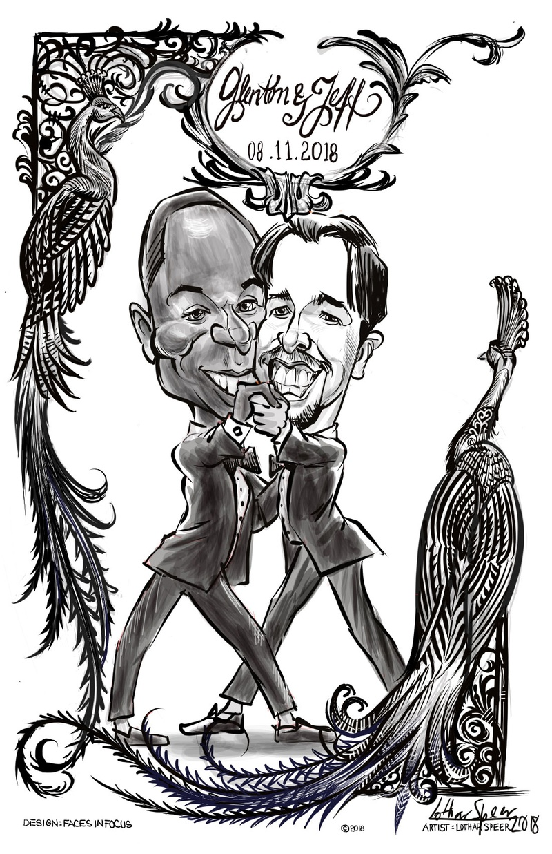 wedding reception entertainment idea caricature artist dancing grooms in tuxedos with peacock design