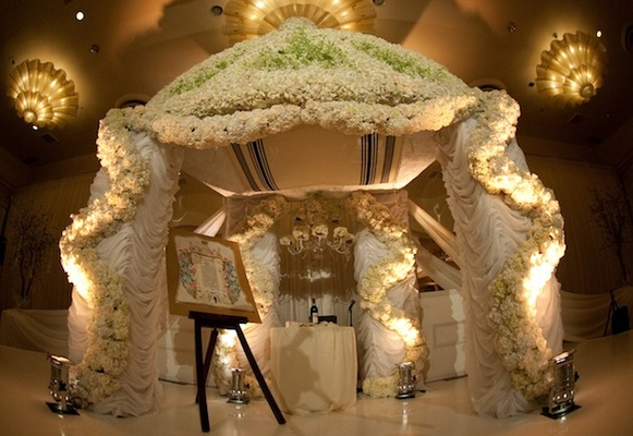 Large white floral chuppah