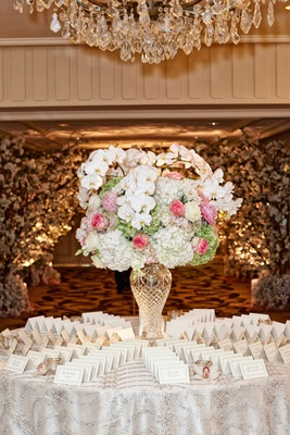 Wedding escort card table with crystal vase, white orchid, hydrangea, pink rose, green hydrangea