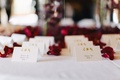 Wedding reception place card table with white cards with Chinese characters, red flower petals