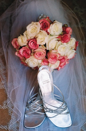 Stuart Weitzman silver wedding heels and bouquet