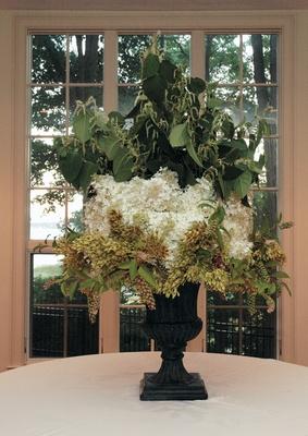 Large hydrangea flower arrangement at wedding reception