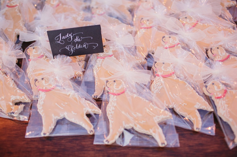 Wedding favor cookies shaped like dog golden retriever