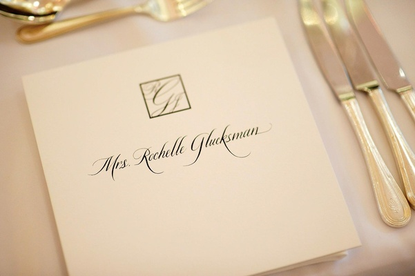 Wedding monogram in square box and ivory card