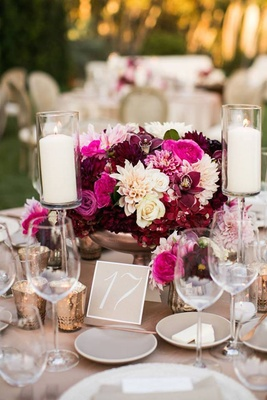 The Hidden Garden marsala reception centerpiece
