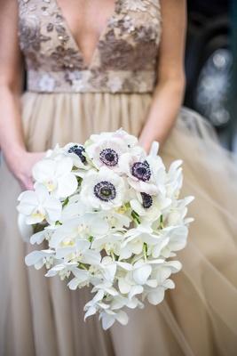 white bouquet orchids anemones flowers black center new york city wedding bridal unique