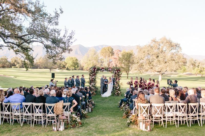 ojai valley inn wedding, outdoor jewish ceremony, floral chuppah, wedding in a field