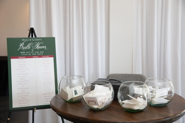 kentucky derby themed bridal shower with bets on horses