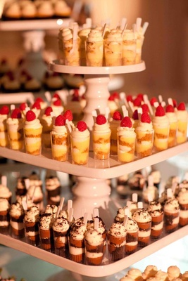 Tiered dessert display at wedding reception