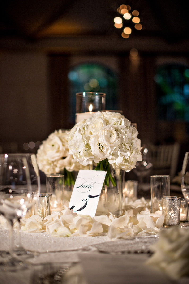 Reception Dcor Photos Rose Petals Around Centerpieces Inside