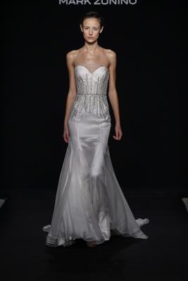 Mark Zunino for Kleinfeld 2016 strapless wedding dress with jewel waistline