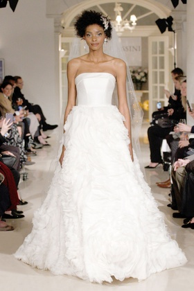 Oleg Cassini Spring 2019 collection strapless gown with mikado bodice and chiffon skirt