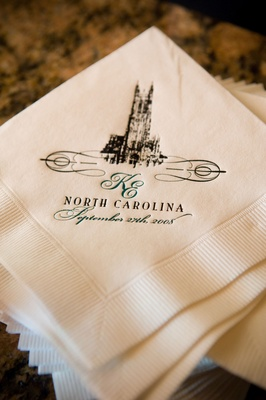 napkins with duke chapel and monogram printed on them