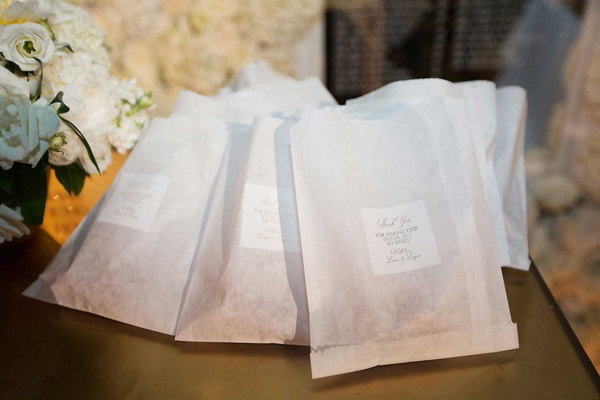 wedding favors in custom dessert bags Thank you for making our special day so sweet miniature donuts