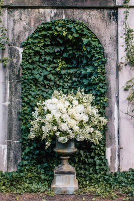 urn with white hydrangea and greenery roses in front of wall of ivy