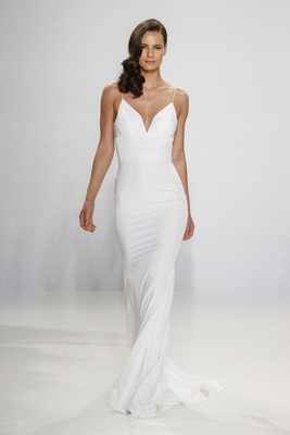 Christian Siriano for Kleinfeld Bridal form fitting slip wedding dress with spaghetti strap