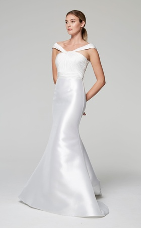 Anne Barge Blue Willow Bride Fall 2018 Thalia wedding dress draped off shoulder silk mermaid gown